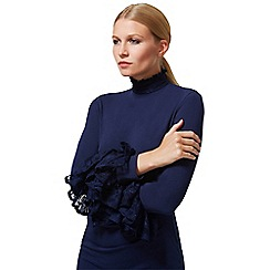 HotSquash - Navy High Neck Lace Detail Dress in Clever Fabric