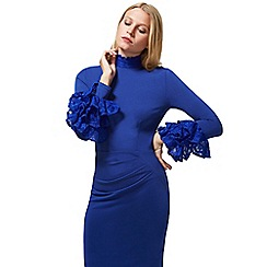 HotSquash - Royal Blue High Neck Lace Detail Dress in Clever Fabric