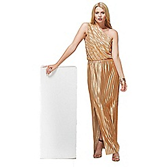 HotSquash - Gold Metallic One Shoulder Maxi Dress with Clever Lining