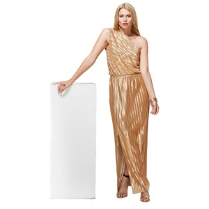 HotSquash Gold Metallic One Shoulder Maxi Dress with Clever Lining