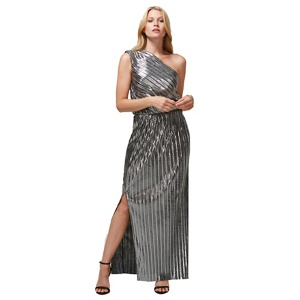 HotSquash Silver Pleated One Shoulder Maxi Dress with Clever Lining