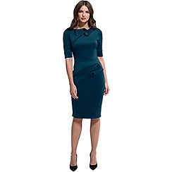 HotSquash - Teal ponte short-sleeved pencil dress