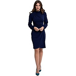 HotSquash - Navy jersey 'agnes' high-neck long sleeves dress