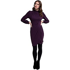 HotSquash - Damson jersey 'agnes' high-neck long sleeves dress
