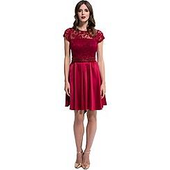 HotSquash - Red lace 'ana' short-sleeved skater dress
