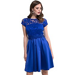 HotSquash - Royal blue lace 'ana' short-sleeved skater dress