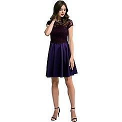 HotSquash - Purple lace 'ana' short-sleeved skater dress