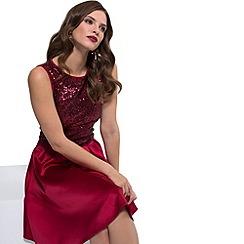 HotSquash - Red sequin 'amber' sleeveless skater dress