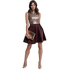 HotSquash - Chocolate sequin 'amber' sleeveless skater dress
