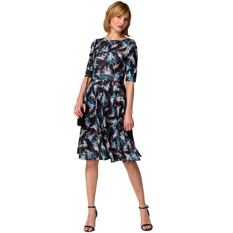 107a5672cf2 HotSquash Exotic grasses print short sleevesd skater dress