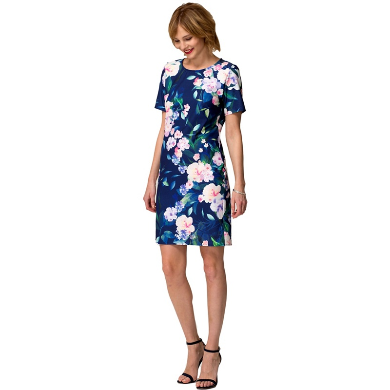HotSquash Flower garden crepe short sleeved 'riviera' dress