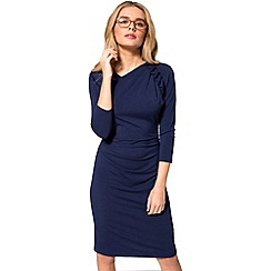 HotSquash - Navy ruffle jersey dress in thermal fabric