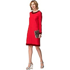 HotSquash - Red crepe boat neck tunic dress with velvet