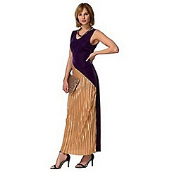 HotSquash - Purple velvet pleat maxi dress in clever fabric