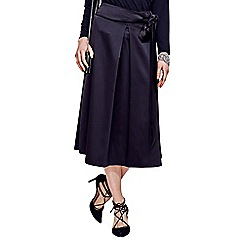 HotSquash - Black Satin Midi Skirt with Adjustable Tie in Clever Fabric