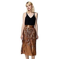 HotSquash - Gold Metallic Pleated Midi Skirt with Clever Lining