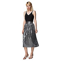 HotSquash - Silver Metallic Pleated Midi Skirt with Clever Lining