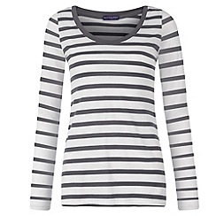 HotSquash - Grey and white striped long sleeve scoop top