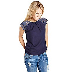 HotSquash - Navy crepe top with lace sleeves in clever fabric