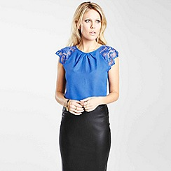 HotSquash - Cobalt crepe top with lace sleeves in clever fabric