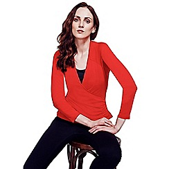 HotSquash - Red Crossover Long-Sleeved Top in ThinHeat Fabric