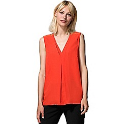 HotSquash - Orange crepe top with zip detail in clever fabric