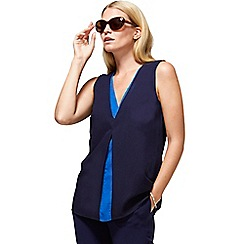 HotSquash - Navy & Cobalt v-neck crepe top in clever fabric
