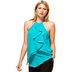 HotSquash - Turquoise ruffle halter neck top in clever fabric