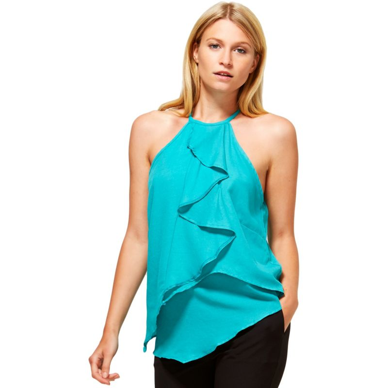 Hotsquash Turquoise Ruffle Halter Neck Top in Clever