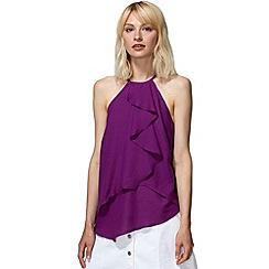 HotSquash - Purple crepe ruffle halter neck top in clever fabric