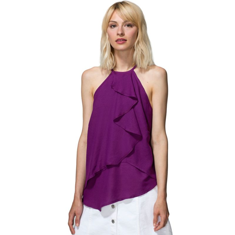 HotSquash - Purple Crepe Ruffle Halter Neck Top In Clever