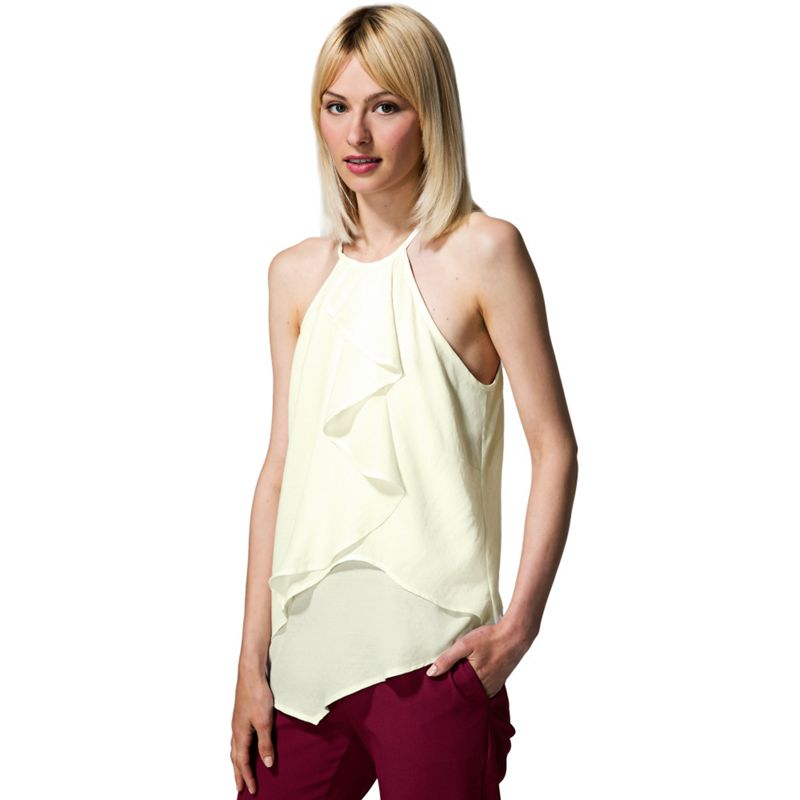 HotSquash Cream ruffle halter neck top in clever fabric