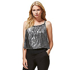 HotSquash - Silver Metallic Pleat Cami Top with Clever Lining