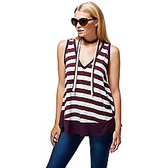 HotSquash - Damson striped top with neck tie in clever fabric