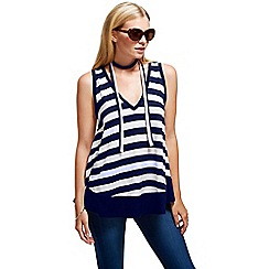 HotSquash - Navy striped top with neck tie in clever fabric