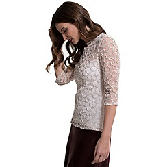HotSquash - Cream flower ribbon 3/4 sleeves top with thinheat
