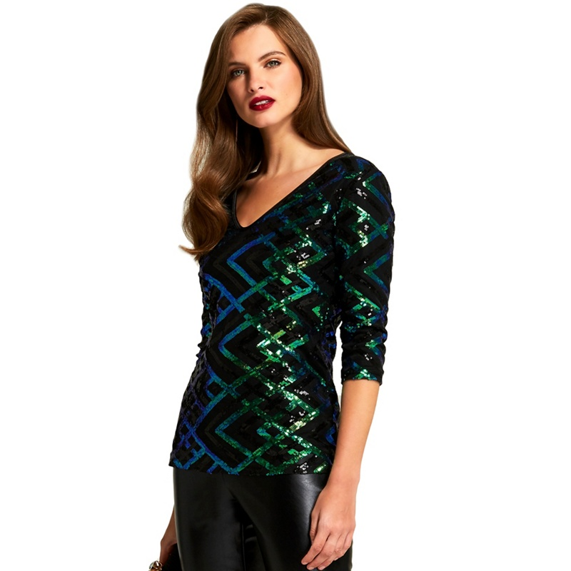 c4e01f9f651 HotSquash - Green And Black 3 4 Sleeves V Neck Sequin Top - £76.50 ...