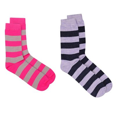 Stripey 2 Pack Thermal Socks With ThinHeat