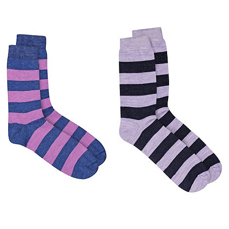 HotSquash - Stripey 2 Pack Thermal Socks With ThinHeat