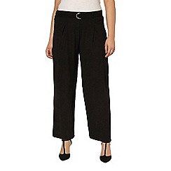 Evans - Black belted wideleg trousers