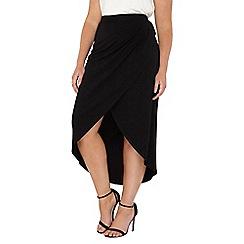 Evans - Black hourglass fit wrap skirt