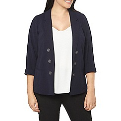Evans - Navy blue button front jacket