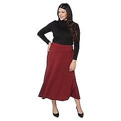 Evans - Wine fit and flare midi skirt