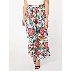 Evans - Ivory floral maxi skirt