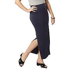 Evans - Navy blue side split maxi skirt