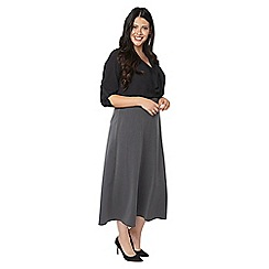 Evans - Grey workwear fit and flare skirt