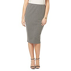Evans - Black and white spotted tube skirt