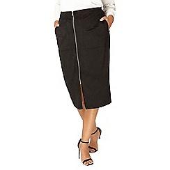 Evans - Black zip front suedette skirt