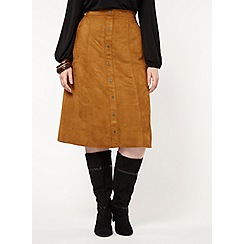 Evans - Brown tan suedette midi skirt