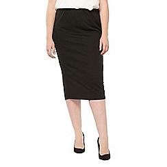 Evans - Black ribbed tube skirt